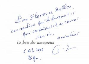 Dédicace de Gilles Lapouge pour Le bois des amoureux