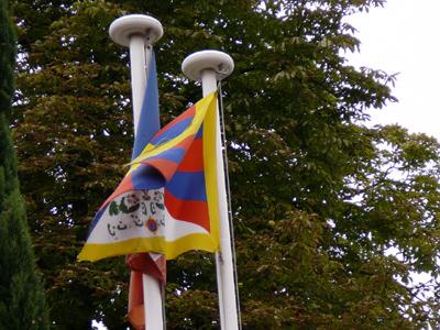 drapeau tibetain maison d'Alexandra David-Neel à Digne-les-Bains