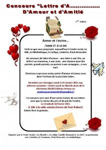 4eme édition du concours lettre amour et amitié