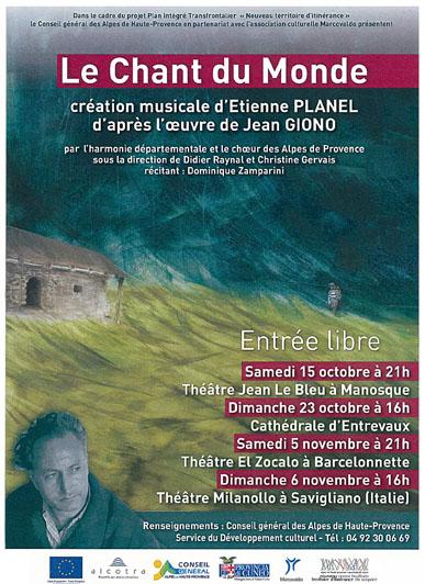 Affiche du Chant du Monde, création musicale d'Etienne PLANEL  d'après l'oeuvre de Jean Giono