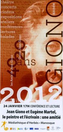 Année Giono 2012 conférence Giono Martel à Manosque