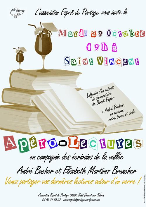 Apéro-lecture avec André Bucher et Elisabeth Martinez Bruncher