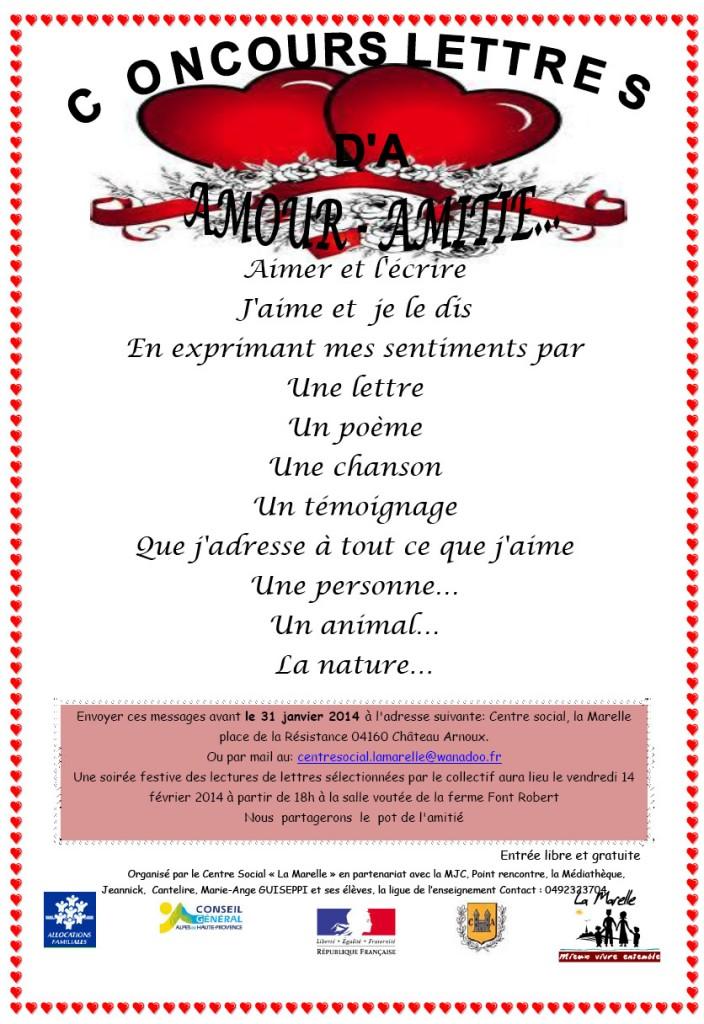 concours lettre amour amitie chateau-arnoux 2013 2014