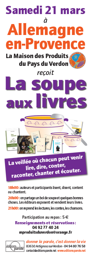 Soupe aux livres Allemagne-en-Provence 21 mars 2015