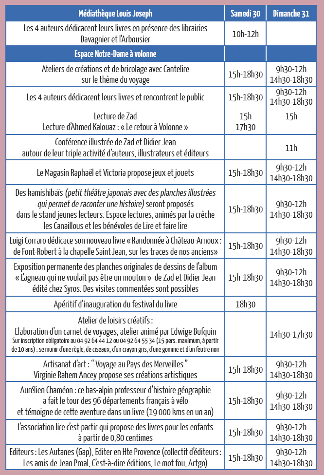 programme Festival du Livre Volonne