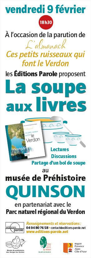 Soupe aux livres spéciale le 9 février 2018 à 18h30 auMusée de Préhistoire des gorges du Verdon à Quinson