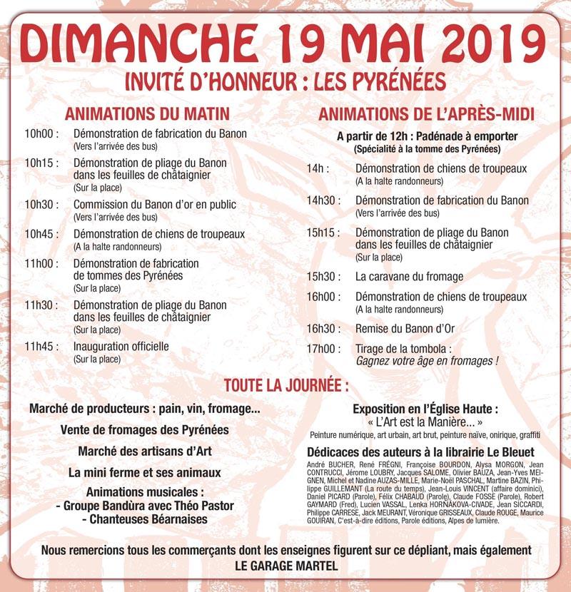 Programme de la Fête du fromage et des livres à Banon 2019