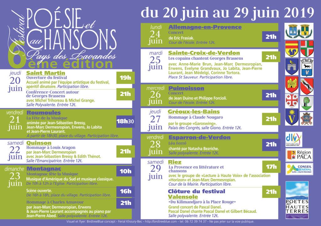 Programme Festival Poésie et Chansons au Pays des Lavandes 2019
