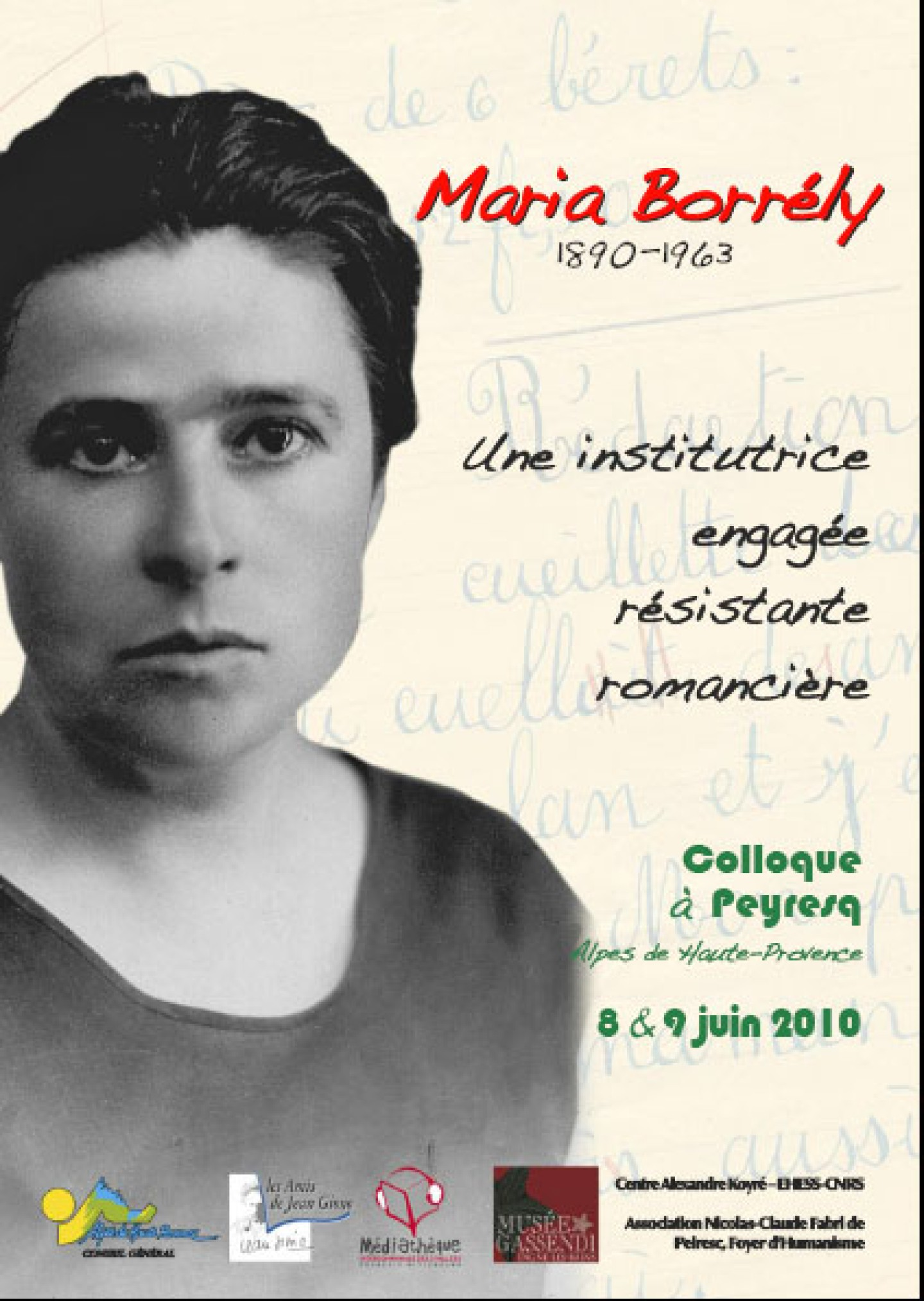 Affiche colloque Maria Borrely