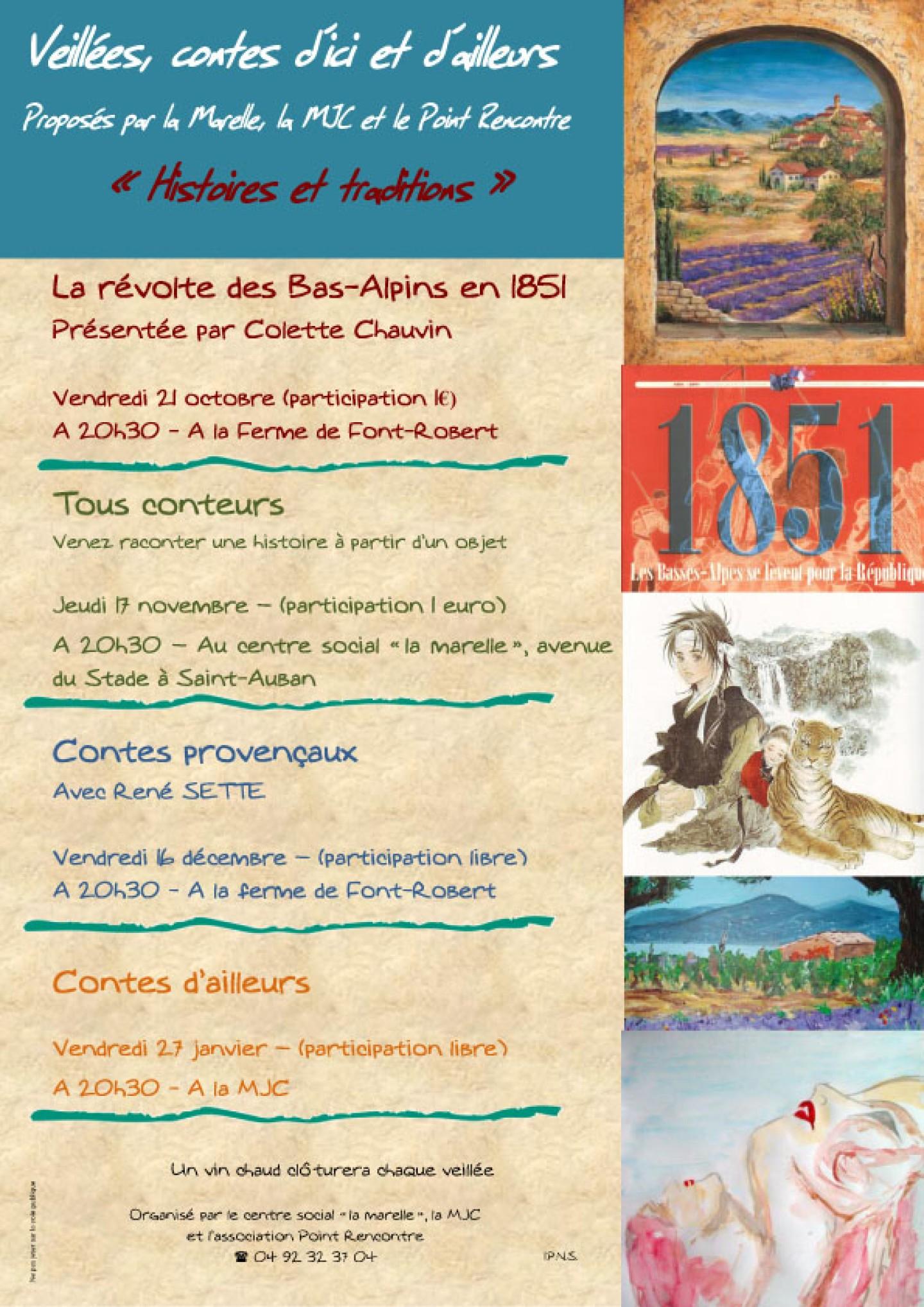 Veillées contes d'ici et d'ailleurs à Chateau-Arnoux saison 2011-2012